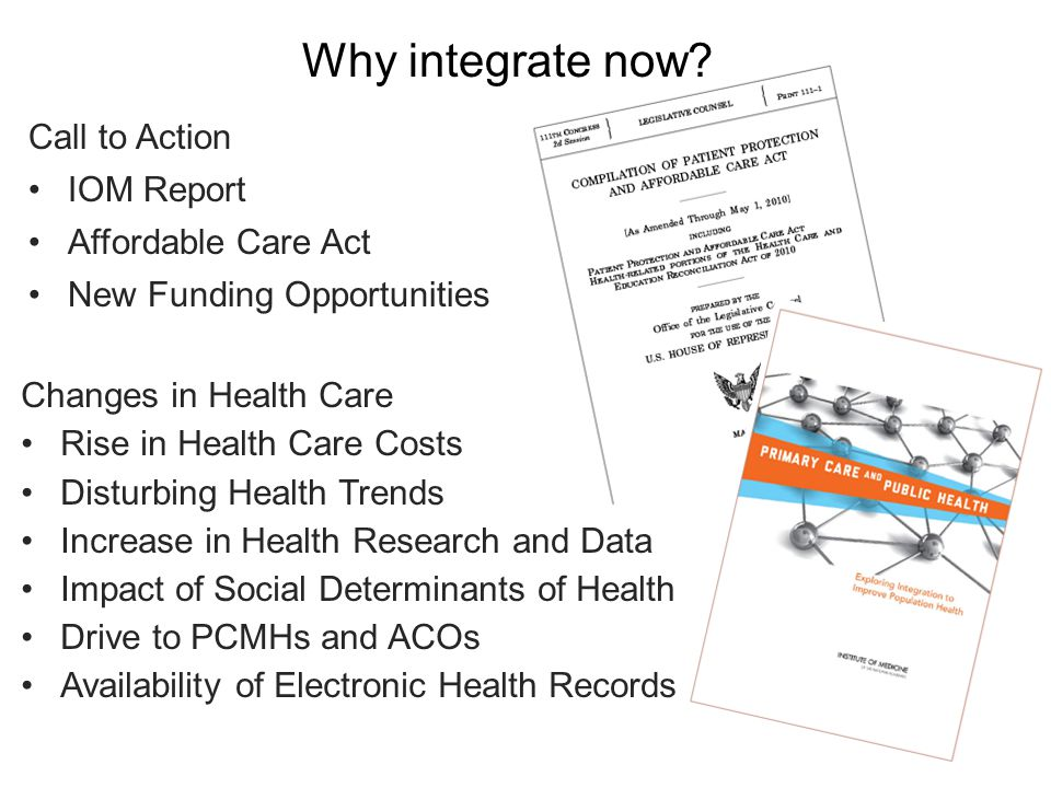 Principles for Successful Integration Shared goal of population health improvement Community engagement in defining and addressing population health needs Aligned leadership Sustainability Shared data and analysis