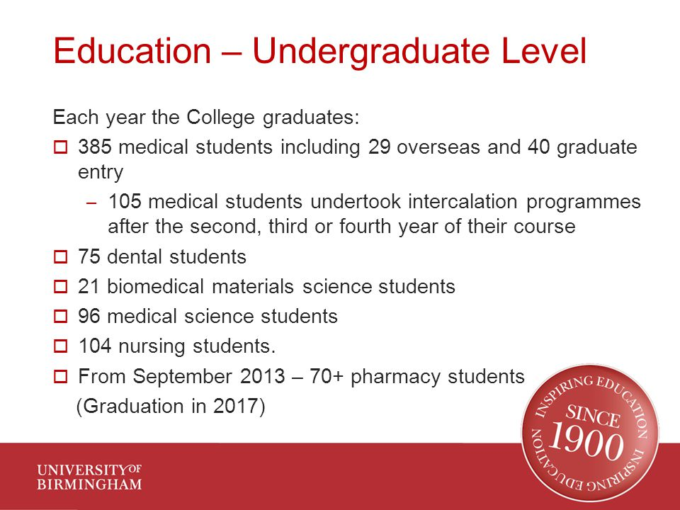 Education – Undergraduate Level Each year the College graduates:  385 medical students including 29 overseas and 40 graduate entry – 105 medical students undertook intercalation programmes after the second, third or fourth year of their course  75 dental students  21 biomedical materials science students  96 medical science students  104 nursing students.