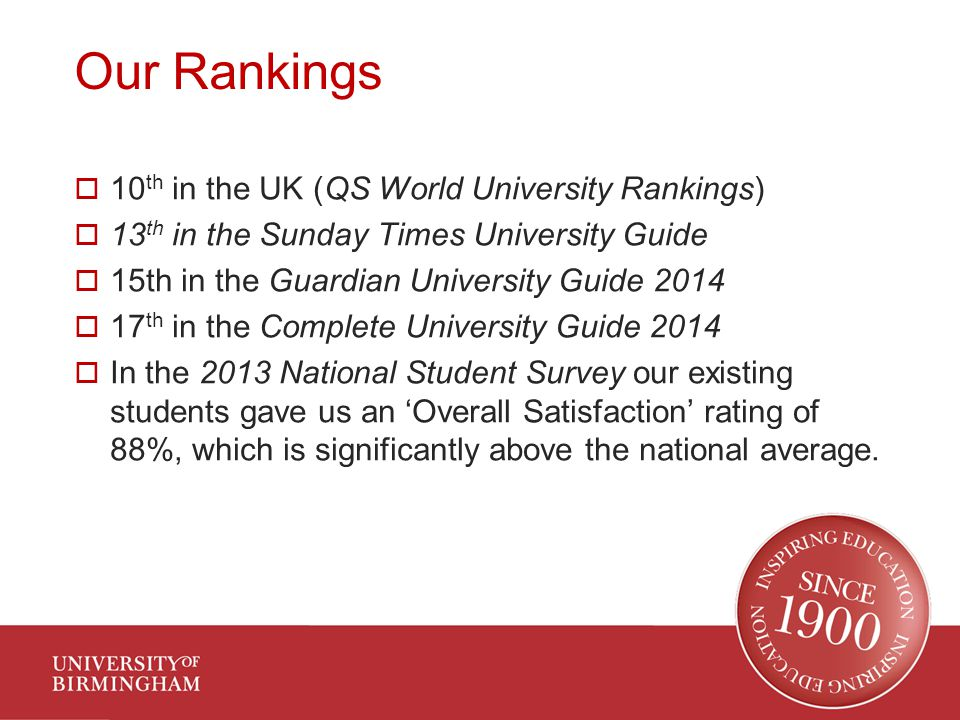 Our Rankings  10 th in the UK (QS World University Rankings)  13 th in the Sunday Times University Guide  15th in the Guardian University Guide 2014  17 th in the Complete University Guide 2014  In the 2013 National Student Survey our existing students gave us an 'Overall Satisfaction' rating of 88%, which is significantly above the national average.