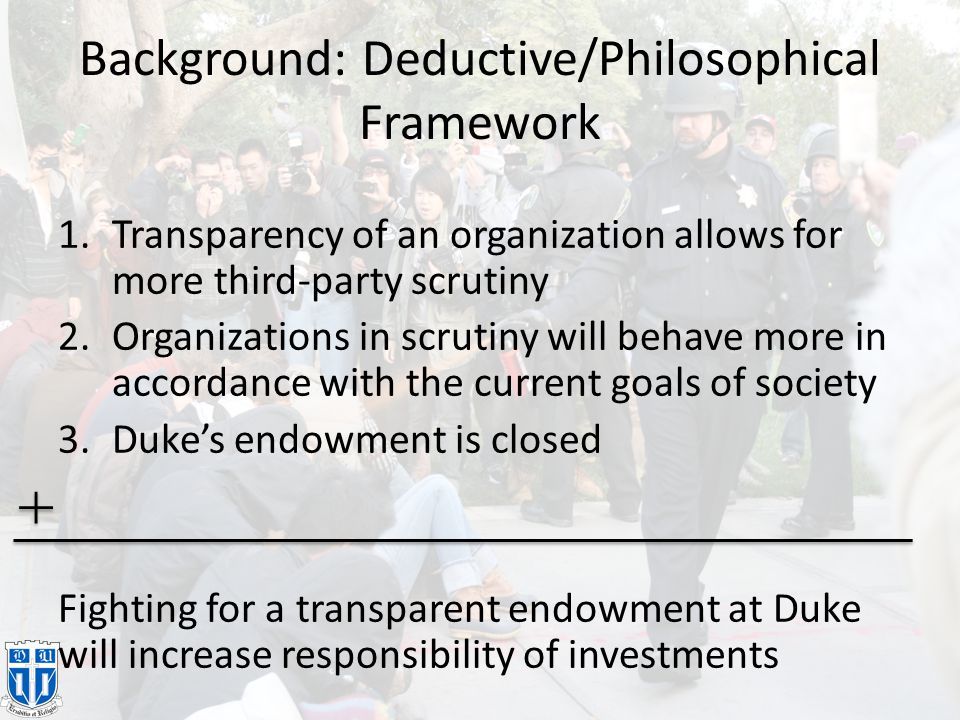Background Duke Endowment: perverse but clever move [2] – As stated in Philanthropy Journal, Six years ago, three- quarters of the foundation's assets were tied to Duke Energy,….the foundation now has 16% of its assets in power company stocks. [4] – The Herald Sun chronicles a protest against this [5].