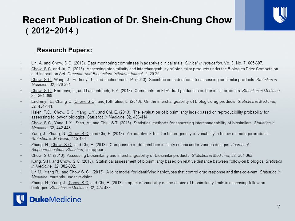 Research Papers: Lin, A. and Chow, S.C. (2013).