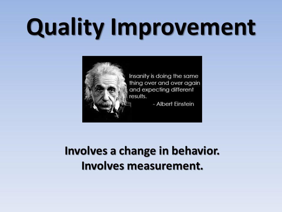 Quality Improvement Involves a change in behavior. Involves measurement.