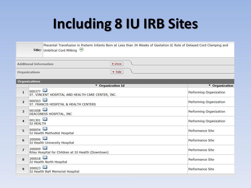 Including 8 IU IRB Sites