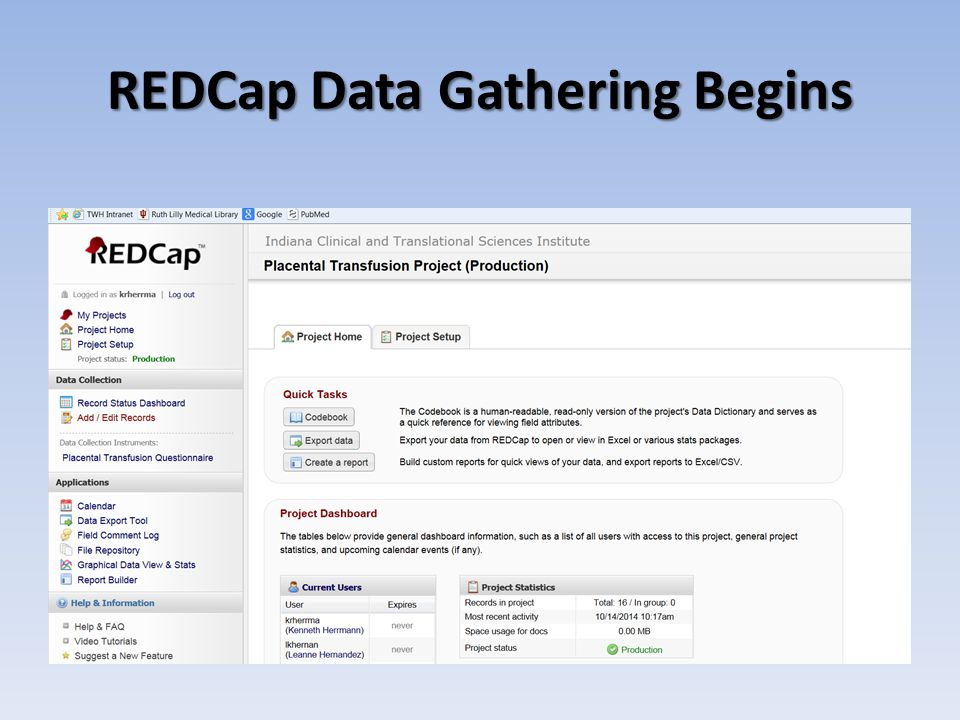 REDCap Data Gathering Begins