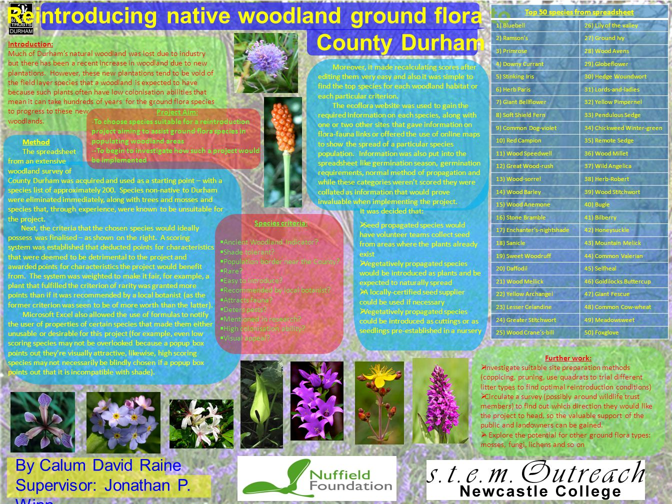 By Calum David Raine Supervisor: Jonathan P. Winn Reintroducing native woodland ground flora to County Durham Introduction: Much of Durham's natural w