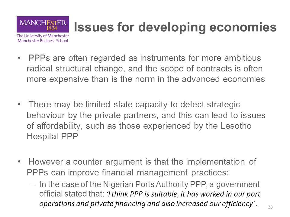 A conclusion: PPPs are evolving, so must the decision-making and accountability Better transparency in terms of understanding majority of contract costs, but are we starting to see a global shift in the nature of some classes of PPPs.