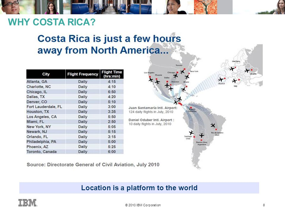 © 2010 IBM Corporation 8 WHY COSTA RICA Location is a platform to the world