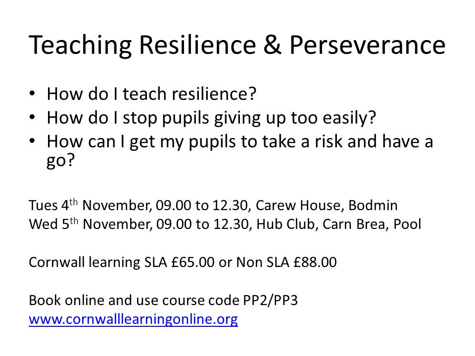 Teaching Resilience & Perseverance How do I teach resilience? How do I stop pupils giving up too easily? How can I get my pupils to take a risk and ha