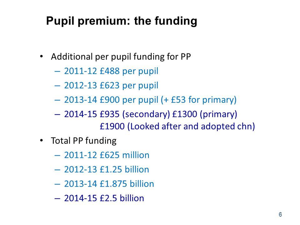 Pupil premium: the funding Additional per pupil funding for PP – 2011-12£488 per pupil – 2012-13£623 per pupil – 2013-14£900 per pupil (+ £53 for prim