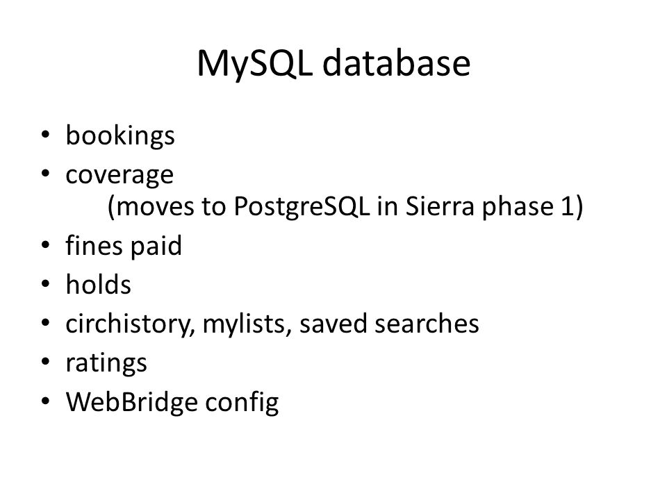 MySQL database: practical ideas Management reports on fines Data mining of user behaviour (bookings, holds, circulation history, ratings, searches) Exporting coverage information