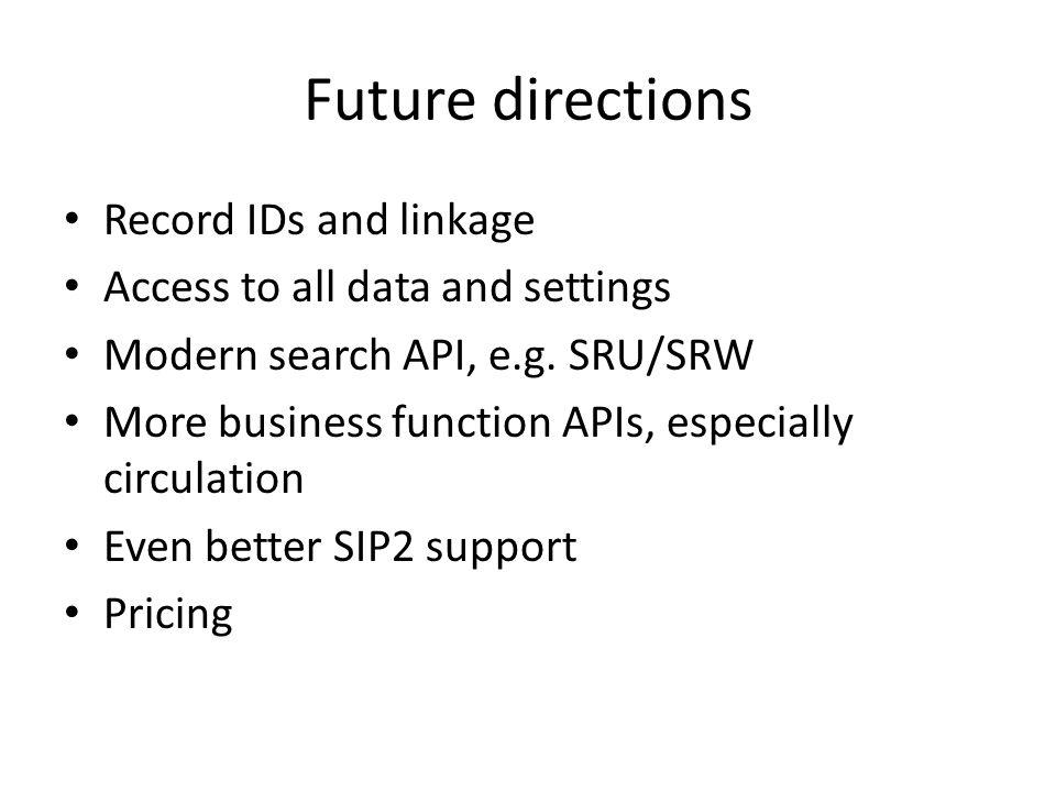 Documentation Tech docs site: http://techdocs.iii.com/http://techdocs.iii.com/ – Patron update web service – Fine payment web service – My Millennium web service Vendor docs site: http://vendordocs.iii.com/http://vendordocs.iii.com/ – Patron API – Item status API – NCIP – SIP2