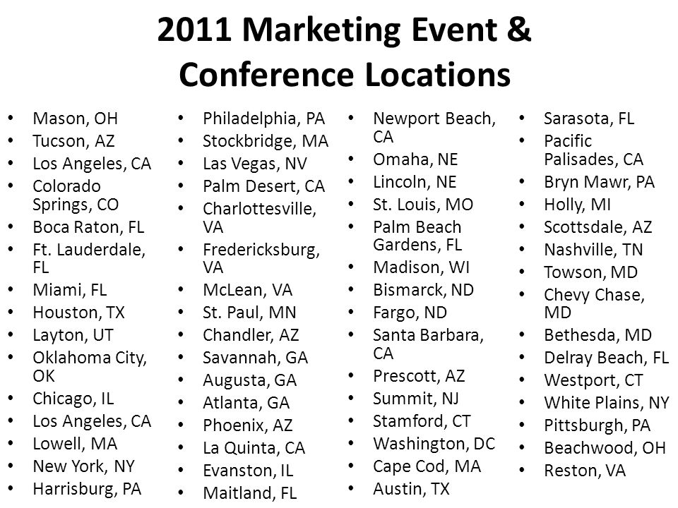 2011 Marketing Event & Conference Locations Mason, OH Tucson, AZ Los Angeles, CA Colorado Springs, CO Boca Raton, FL Ft.
