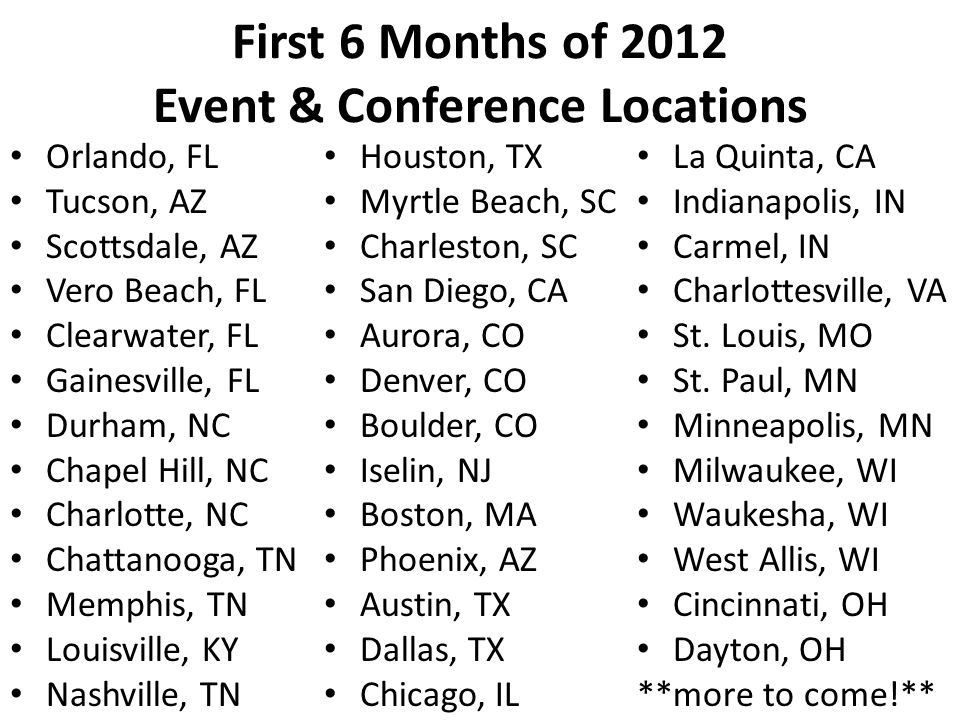 First 6 Months of 2012 Event & Conference Locations Orlando, FL Tucson, AZ Scottsdale, AZ Vero Beach, FL Clearwater, FL Gainesville, FL Durham, NC Chapel Hill, NC Charlotte, NC Chattanooga, TN Memphis, TN Louisville, KY Nashville, TN Houston, TX Myrtle Beach, SC Charleston, SC San Diego, CA Aurora, CO Denver, CO Boulder, CO Iselin, NJ Boston, MA Phoenix, AZ Austin, TX Dallas, TX Chicago, IL La Quinta, CA Indianapolis, IN Carmel, IN Charlottesville, VA St.