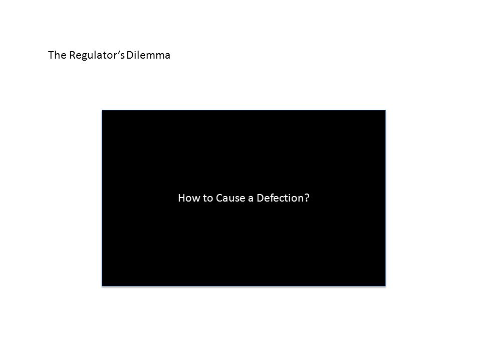 The Regulator's Dilemma How to Cause a Defection?