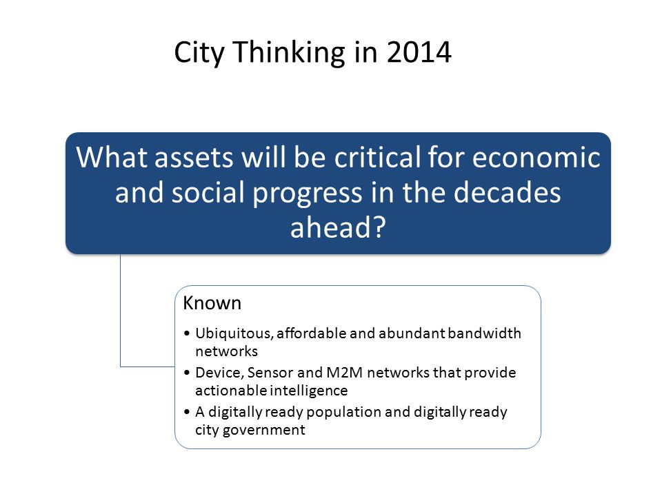 What assets will be critical for economic and social progress in the decades ahead? Known Ubiquitous, affordable and abundant bandwidth networks Devic