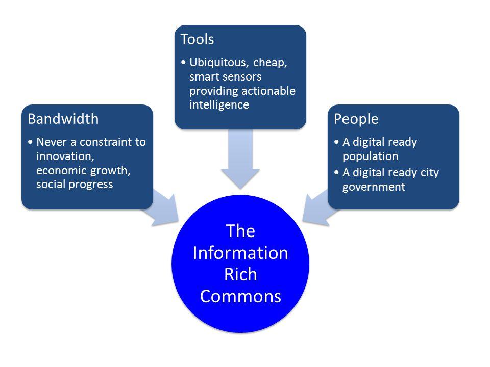 The Information Rich Commons Bandwidth Never a constraint to innovation, economic growth, social progress Tools Ubiquitous, cheap, smart sensors provi