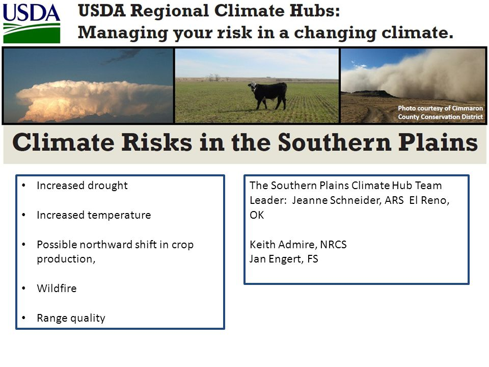 Increased drought Increased temperature Possible northward shift in crop production, Wildfire Range quality The Southern Plains Climate Hub Team Leade