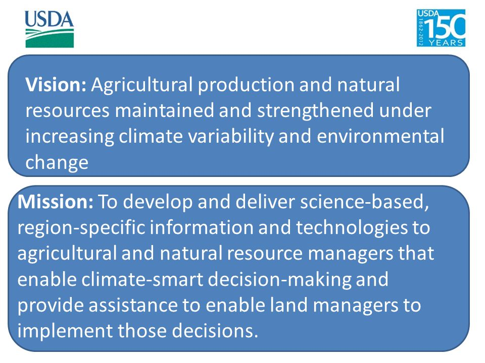 Vision: Agricultural production and natural resources maintained and strengthened under increasing climate variability and environmental change Missio