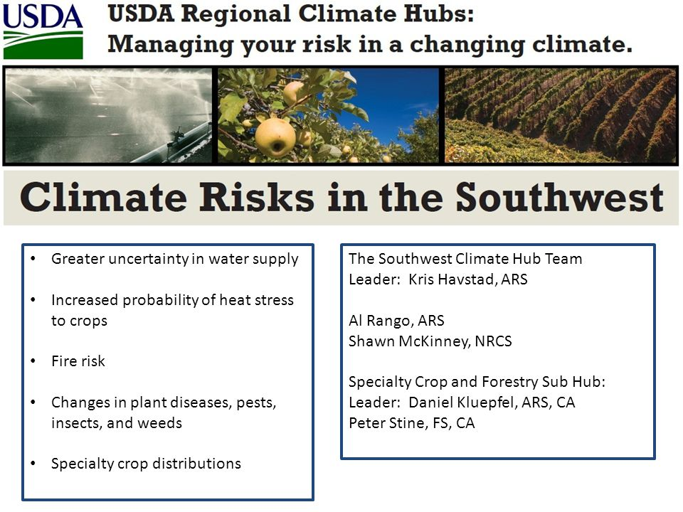 Greater uncertainty in water supply Increased probability of heat stress to crops Fire risk Changes in plant diseases, pests, insects, and weeds Specialty crop distributions The Southwest Climate Hub Team Leader: Kris Havstad, ARS Al Rango, ARS Shawn McKinney, NRCS Specialty Crop and Forestry Sub Hub: Leader: Daniel Kluepfel, ARS, CA Peter Stine, FS, CA