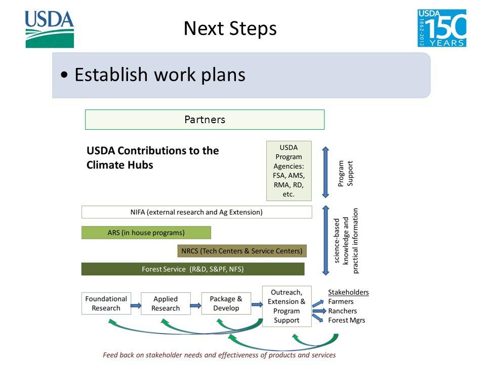 Establish work plans Partners Next Steps