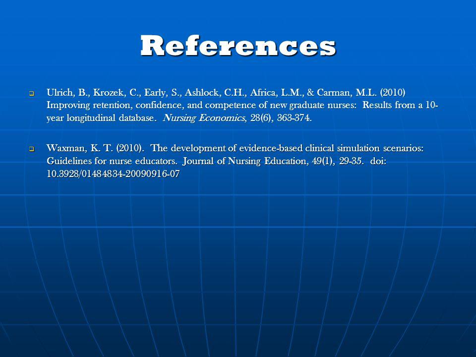References  Ulrich, B., Krozek, C., Early, S., Ashlock, C.H., Africa, L.M., & Carman, M.L.