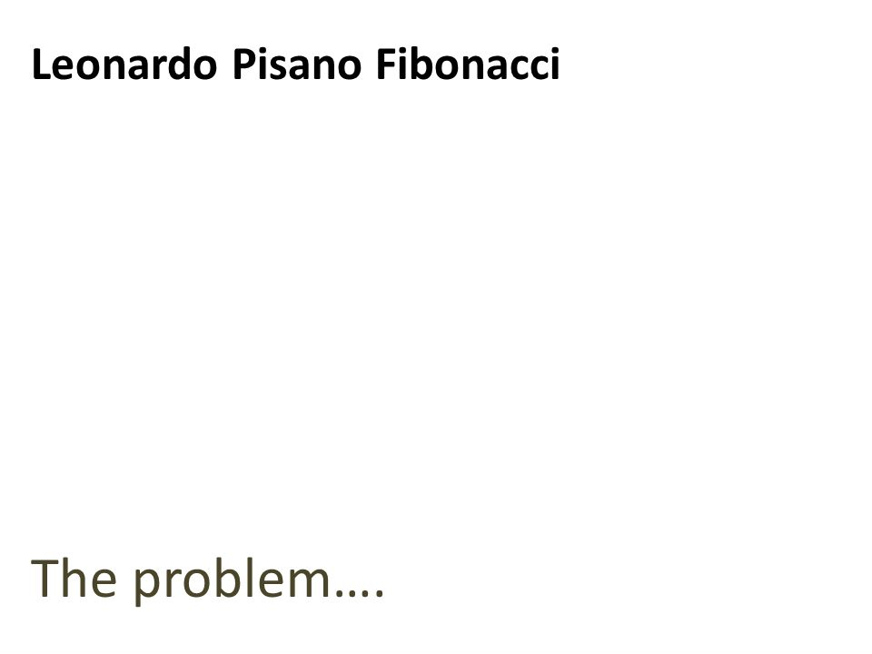 The problem…. Leonardo Pisano Fibonacci