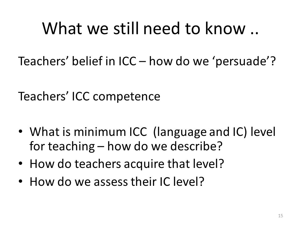 What we still need to know.. Teachers' belief in ICC – how do we 'persuade'.
