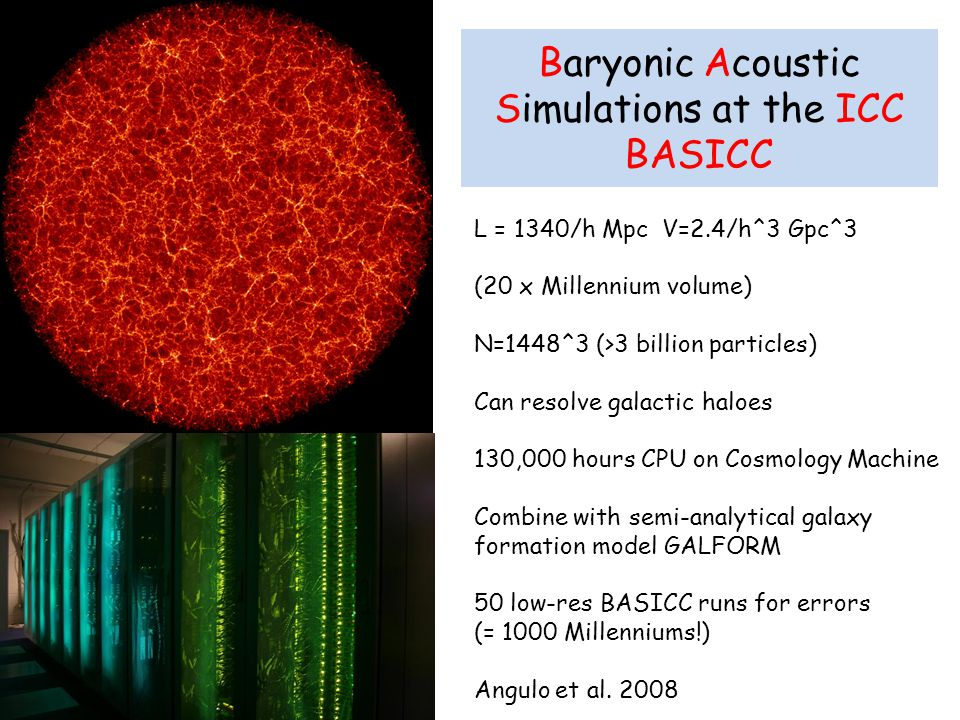Baryonic Acoustic Simulations at the ICC BASICC L = 1340/h Mpc V=2.4/h^3 Gpc^3 (20 x Millennium volume) N=1448^3 (>3 billion particles) Can resolve galactic haloes 130,000 hours CPU on Cosmology Machine Combine with semi-analytical galaxy formation model GALFORM 50 low-res BASICC runs for errors (= 1000 Millenniums!) Angulo et al.