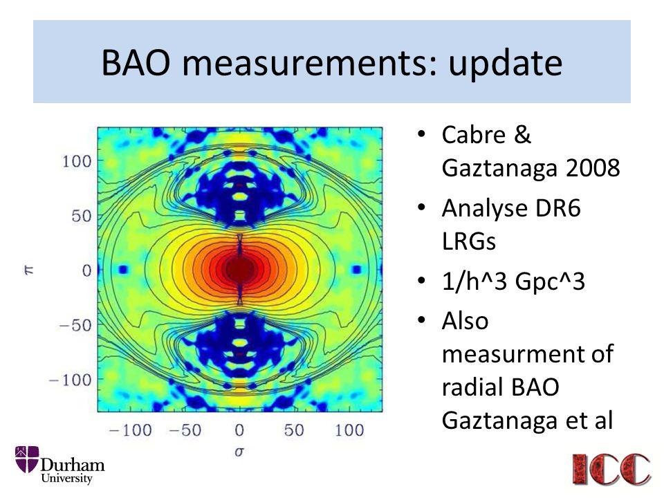 BAO measurements: update Cabre & Gaztanaga 2008 Analyse DR6 LRGs 1/h^3 Gpc^3 Also measurment of radial BAO Gaztanaga et al