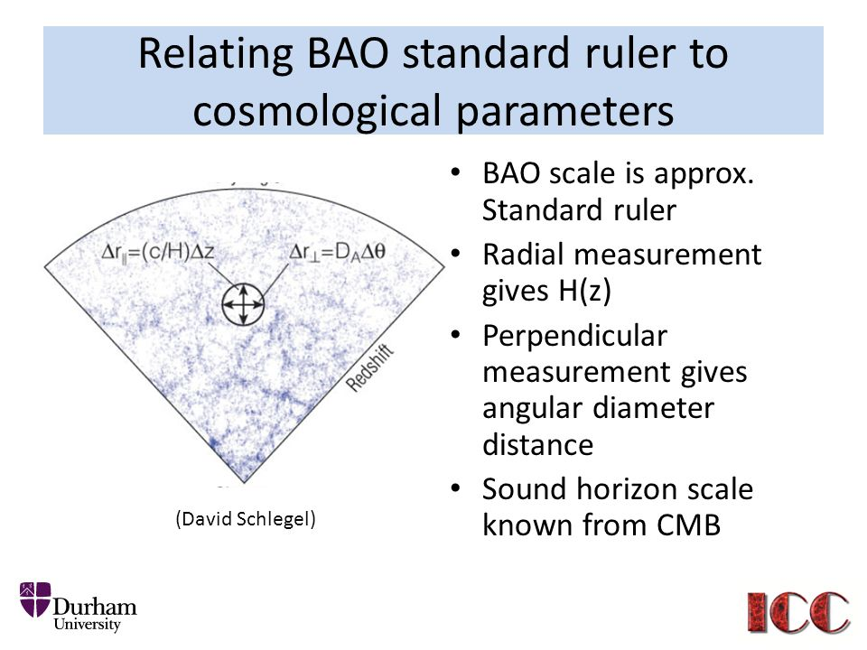 Relating BAO standard ruler to cosmological parameters BAO scale is approx.