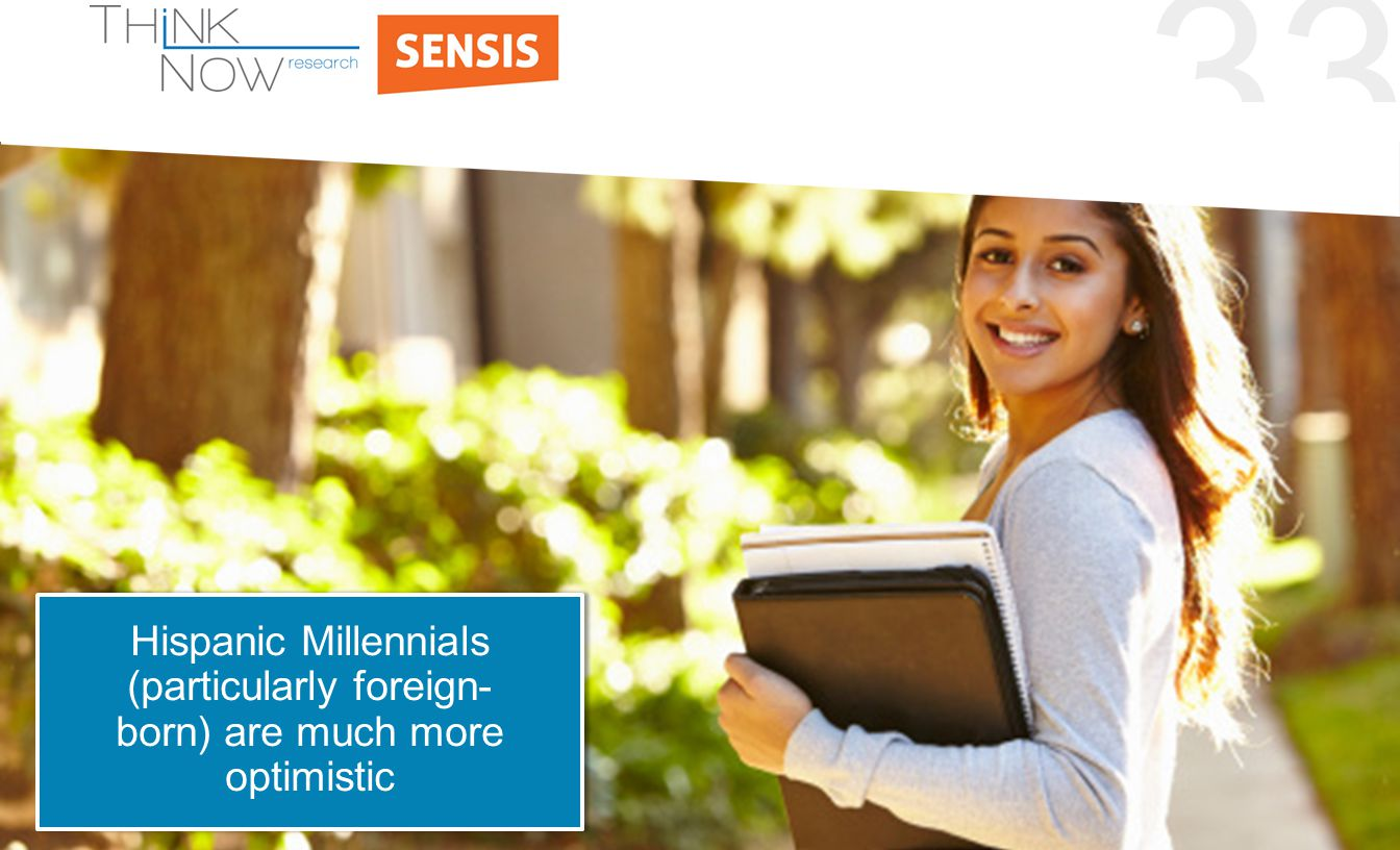 33 Hispanic Millennials (particularly foreign- born) are much more optimistic