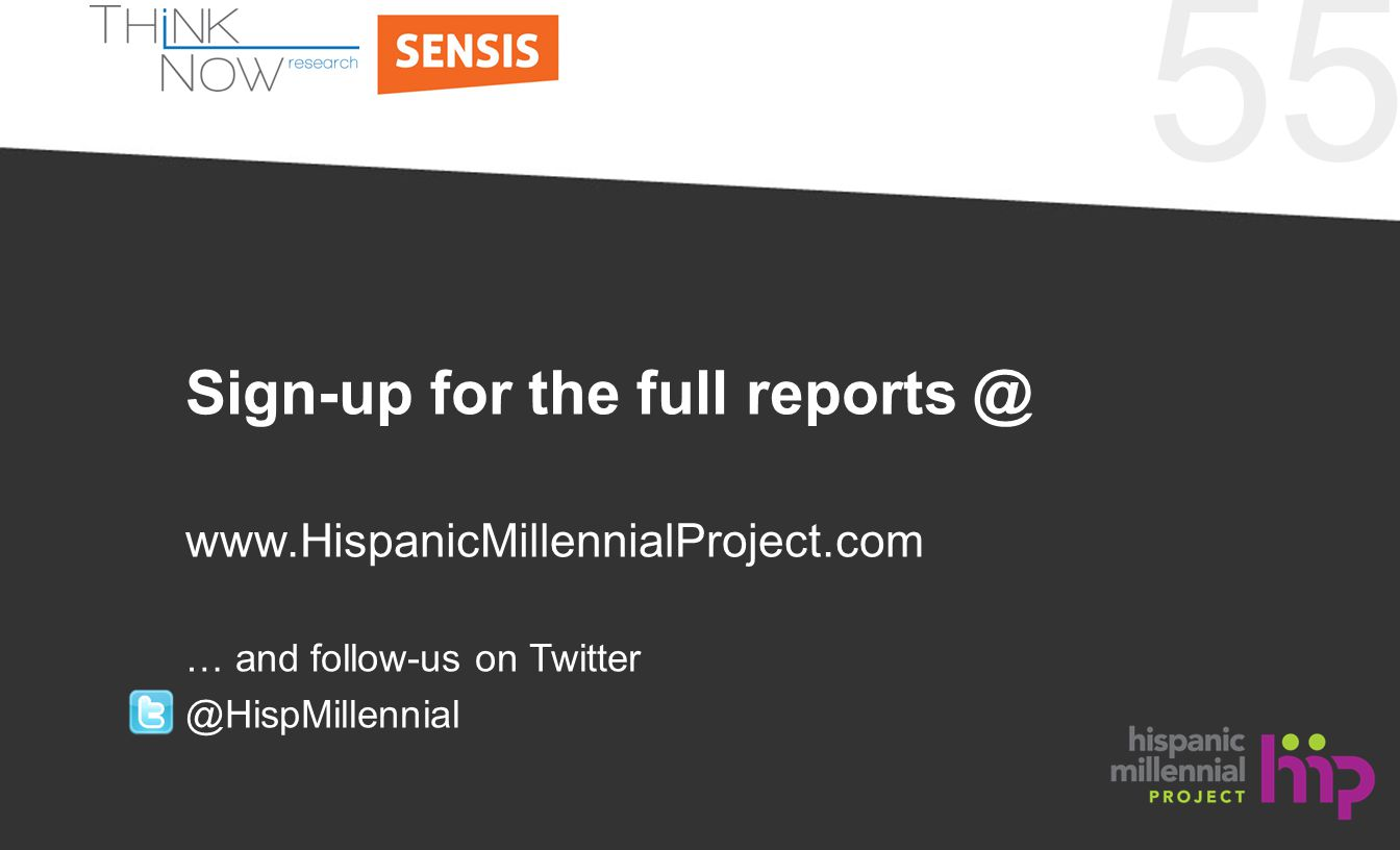 55 Sign-up for the full reports @ www.HispanicMillennialProject.com … and follow-us on Twitter @HispMillennial