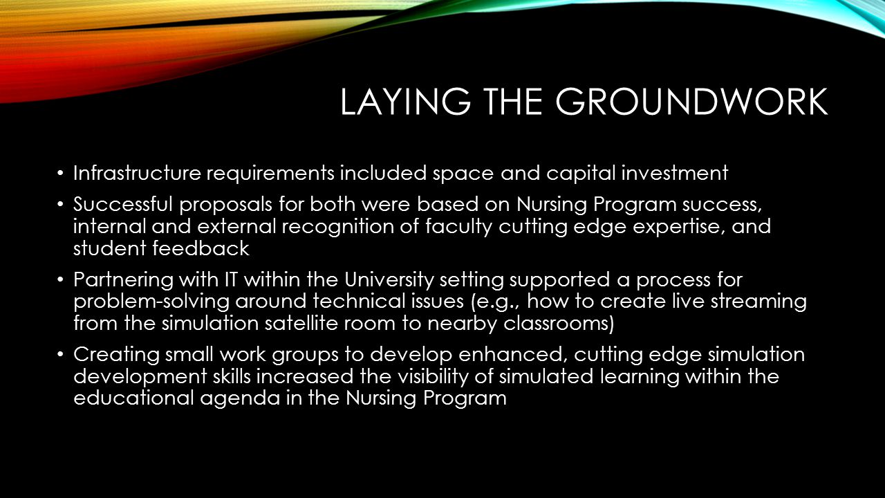 LAYING THE GROUNDWORK Infrastructure requirements included space and capital investment Successful proposals for both were based on Nursing Program success, internal and external recognition of faculty cutting edge expertise, and student feedback Partnering with IT within the University setting supported a process for problem-solving around technical issues (e.g., how to create live streaming from the simulation satellite room to nearby classrooms) Creating small work groups to develop enhanced, cutting edge simulation development skills increased the visibility of simulated learning within the educational agenda in the Nursing Program