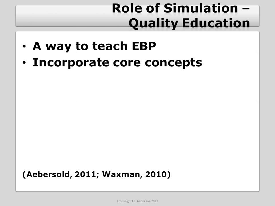 A way to teach EBP Incorporate core concepts (Aebersold, 2011; Waxman, 2010) Copyright M.