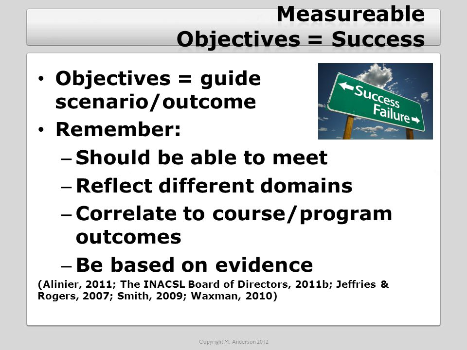 Objectives = guide scenario/outcome Remember: – Should be able to meet – Reflect different domains – Correlate to course/program outcomes – Be based on evidence (Alinier, 2011; The INACSL Board of Directors, 2011b; Jeffries & Rogers, 2007; Smith, 2009; Waxman, 2010) Copyright M.