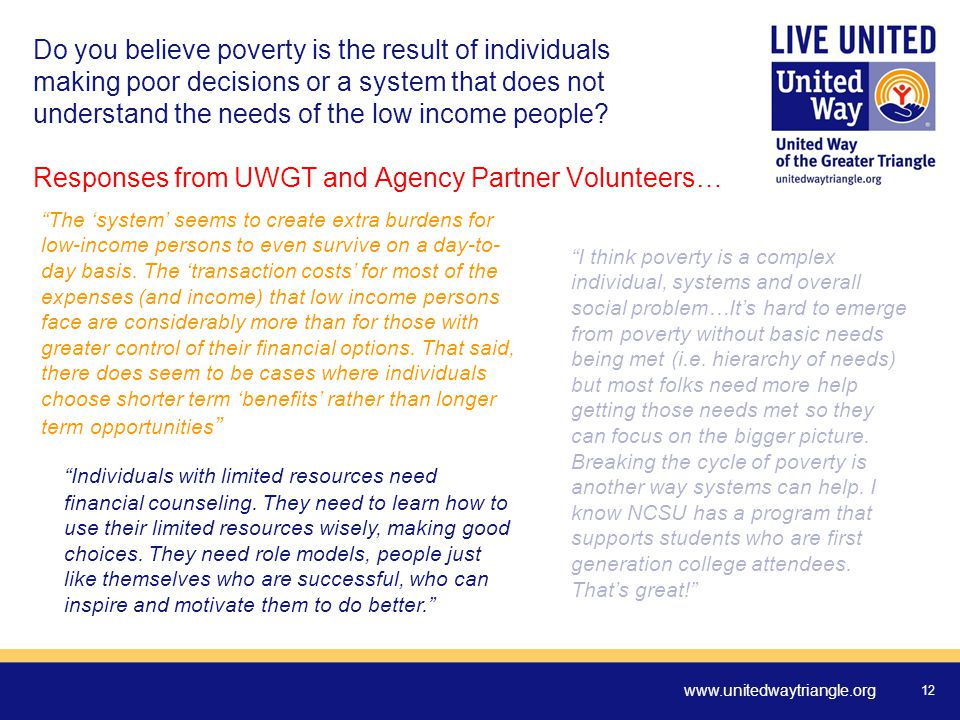 www.unitedwaytriangle.org 12 Do you believe poverty is the result of individuals making poor decisions or a system that does not understand the needs of the low income people.