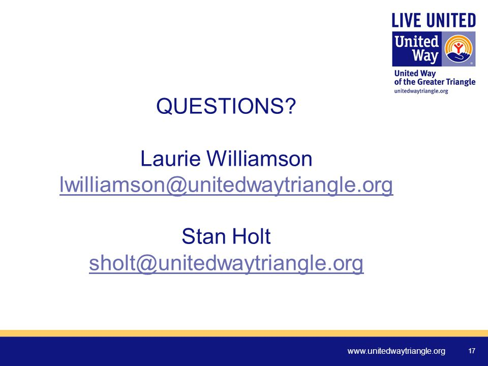 www.unitedwaytriangle.org 17 QUESTIONS.