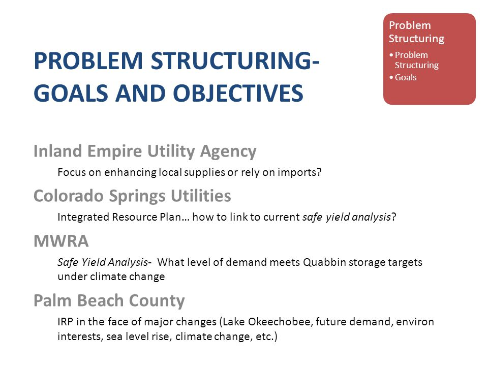 PROBLEM STRUCTURING- GOALS AND OBJECTIVES Inland Empire Utility Agency Focus on enhancing local supplies or rely on imports.