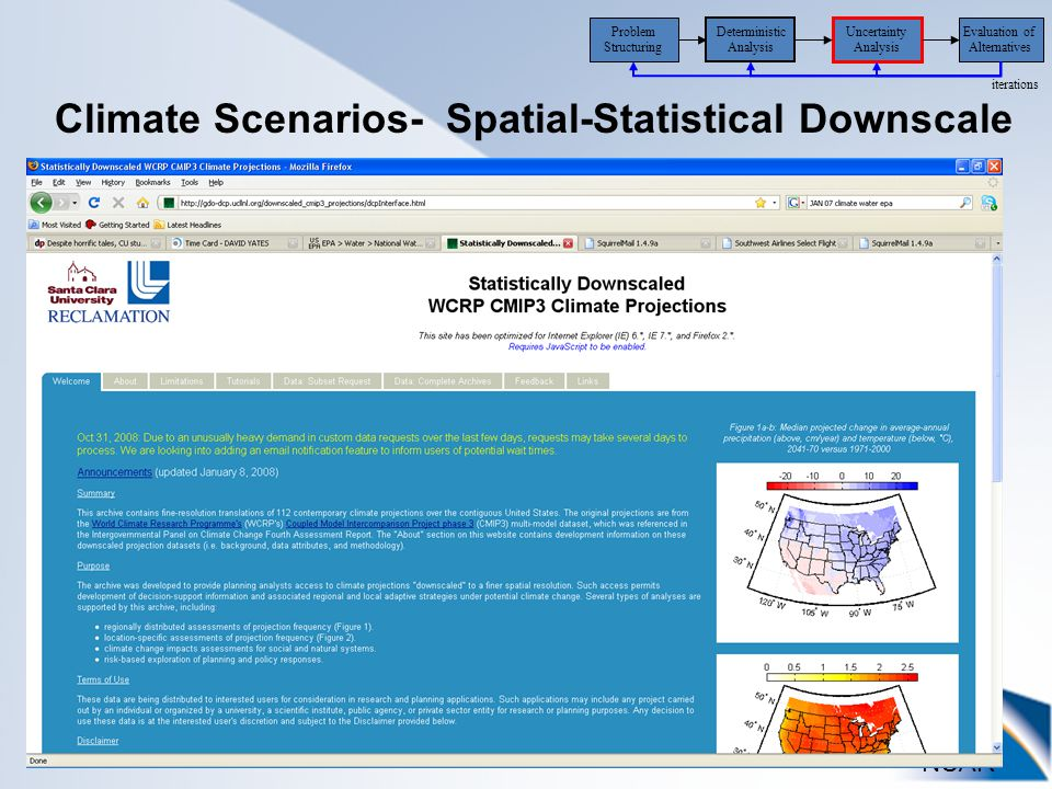 NCAR Uncertainty Analysis Evaluation of Alternatives iterations Problem Structuring Deterministic Analysis Climate Scenarios- Spatial-Statistical Downscale