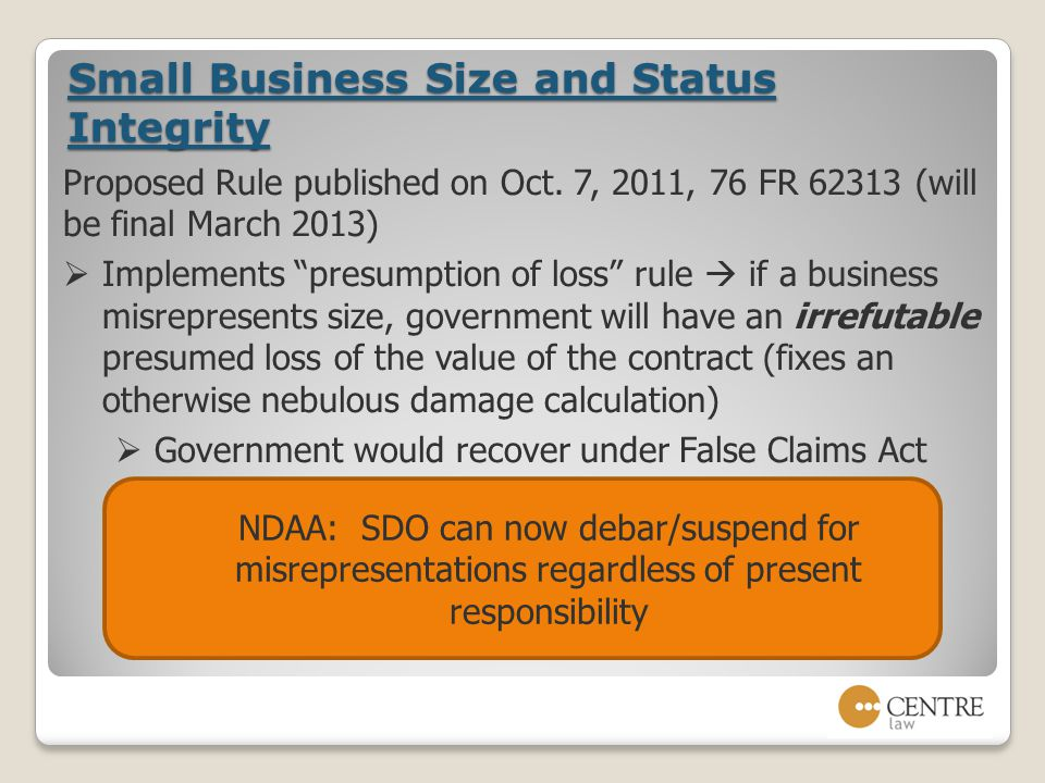 Small Business Size and Status Integrity Proposed Rule published on Oct.