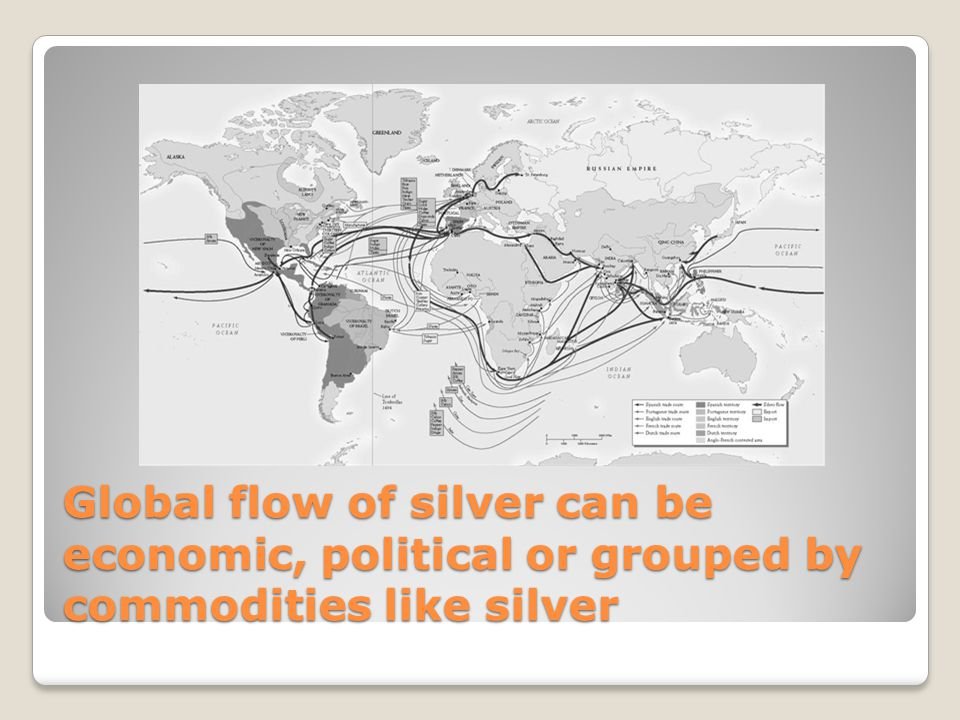 Global flow of silver can be economic, political or grouped by commodities like silver