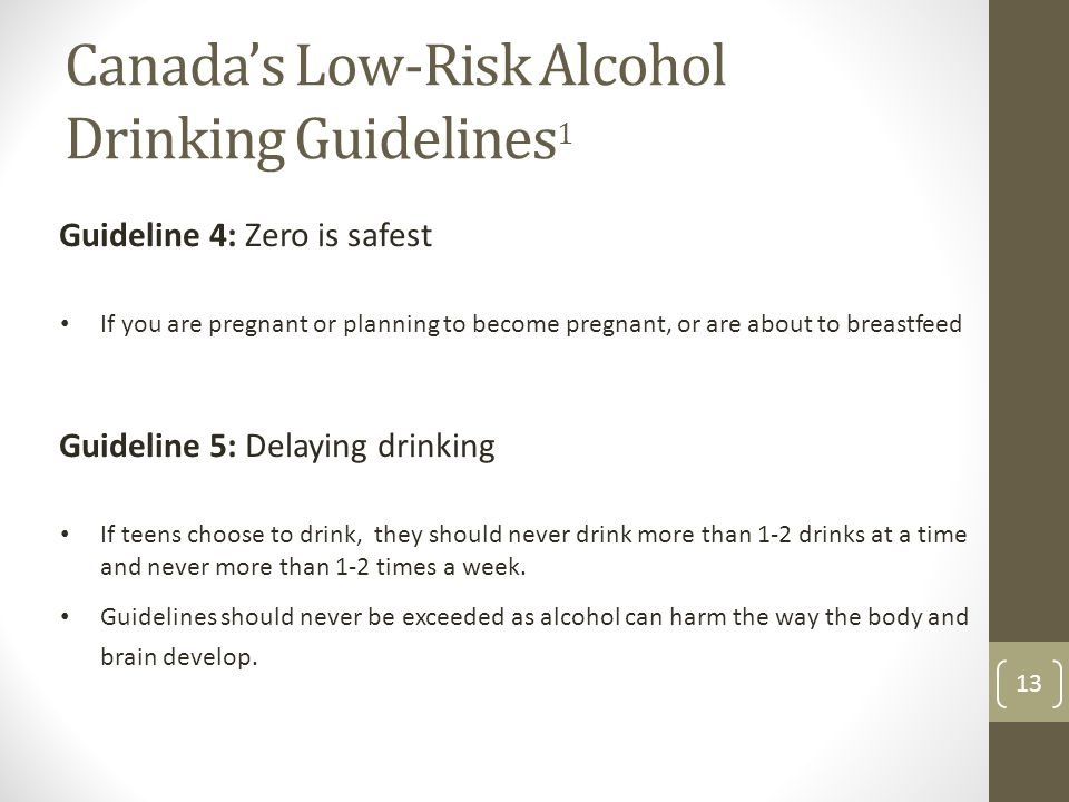 Canada's Low-Risk Alcohol Drinking Guidelines 1 13 Guideline 4: Zero is safest If you are pregnant or planning to become pregnant, or are about to breastfeed Guideline 5: Delaying drinking If teens choose to drink, they should never drink more than 1-2 drinks at a time and never more than 1-2 times a week.