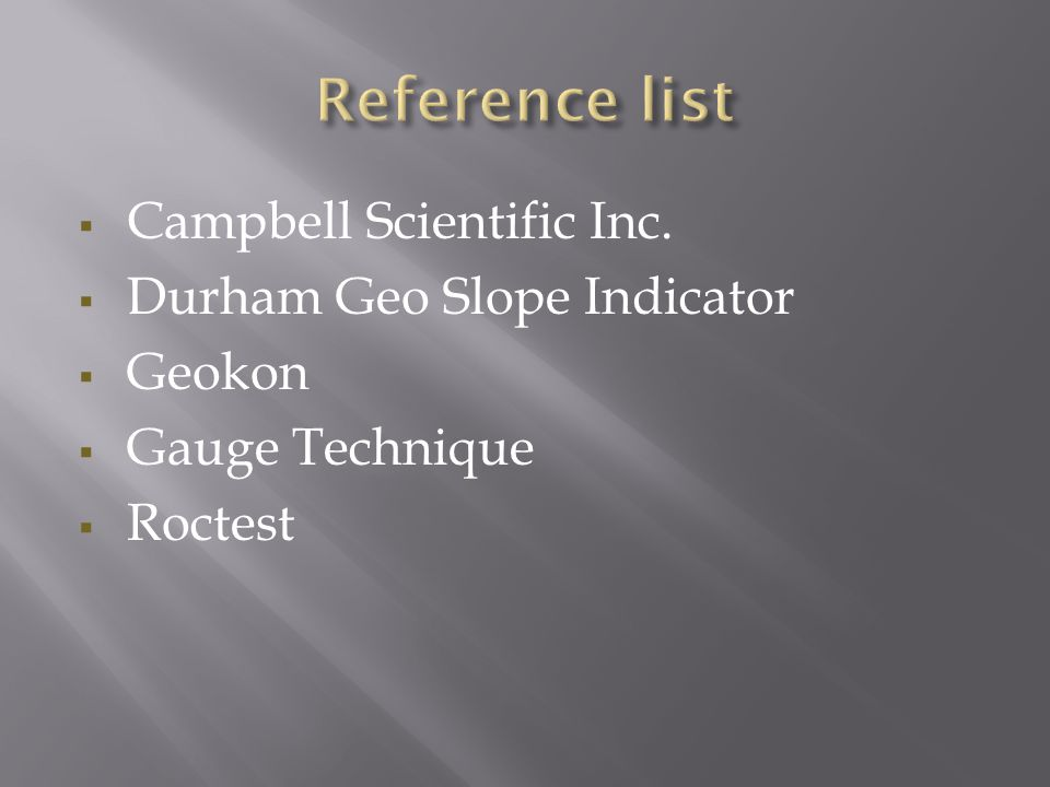  Campbell Scientific Inc.  Durham Geo Slope Indicator  Geokon  Gauge Technique  Roctest