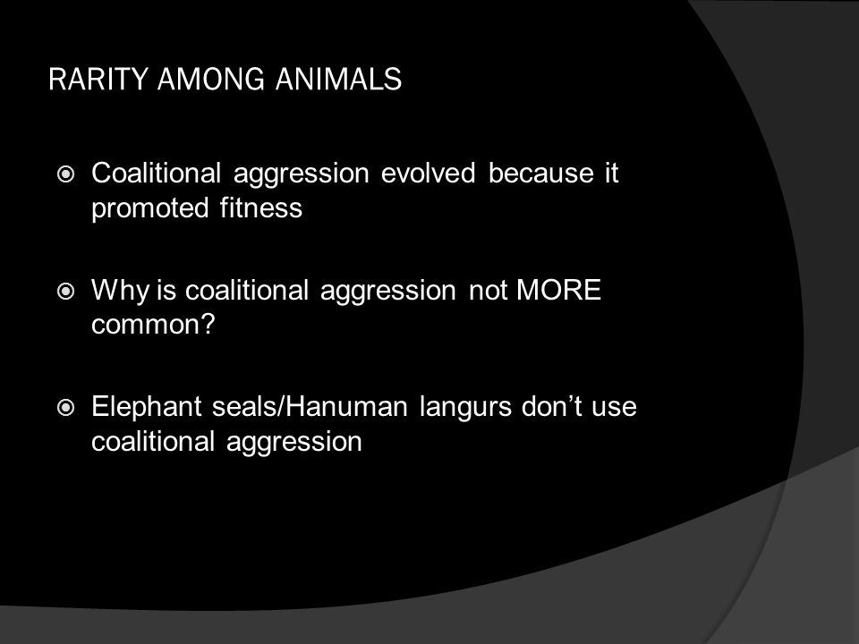 RARITY AMONG ANIMALS  Coalitional aggression evolved because it promoted fitness  Why is coalitional aggression not MORE common.
