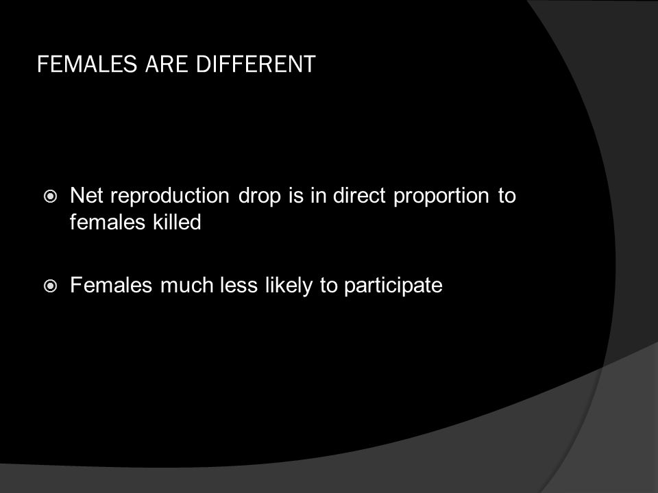 FEMALES ARE DIFFERENT  Net reproduction drop is in direct proportion to females killed  Females much less likely to participate