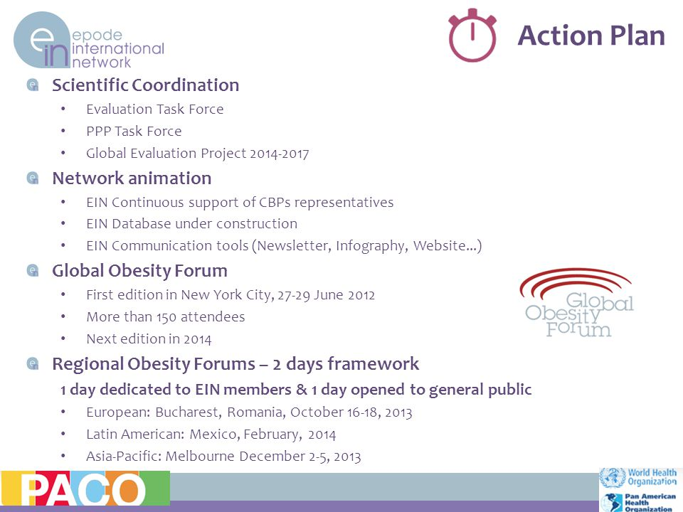 Action Plan 11 Scientific Coordination Evaluation Task Force PPP Task Force Global Evaluation Project 2014-2017 Network animation EIN Continuous support of CBPs representatives EIN Database under construction EIN Communication tools (Newsletter, Infography, Website...) Global Obesity Forum First edition in New York City, 27-29 June 2012 More than 150 attendees Next edition in 2014 Regional Obesity Forums – 2 days framework 1 day dedicated to EIN members & 1 day opened to general public European: Bucharest, Romania, October 16-18, 2013 Latin American: Mexico, February, 2014 Asia-Pacific: Melbourne December 2-5, 2013