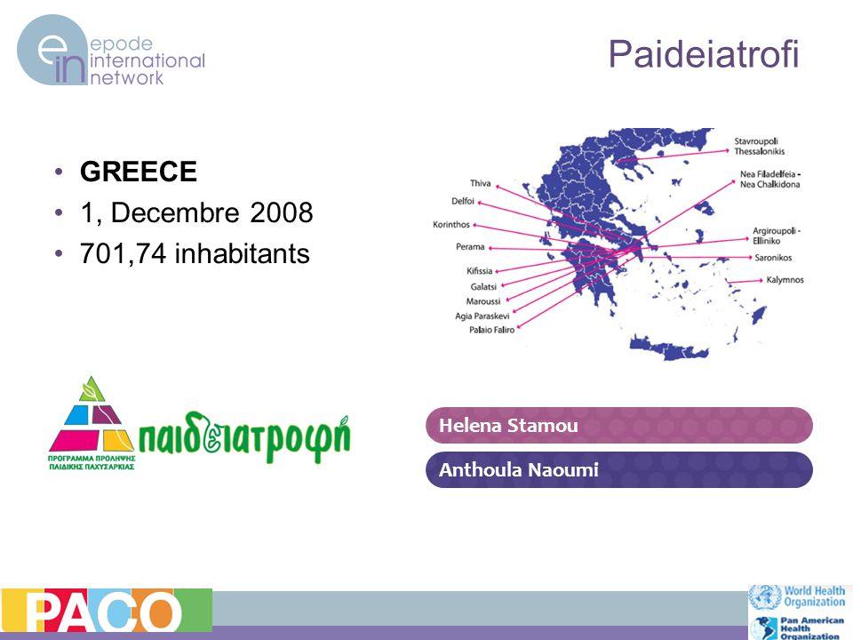 Paideiatrofi GREECE 1, Decembre 2008 701,74 inhabitants Helena Stamou Anthoula Naoumi