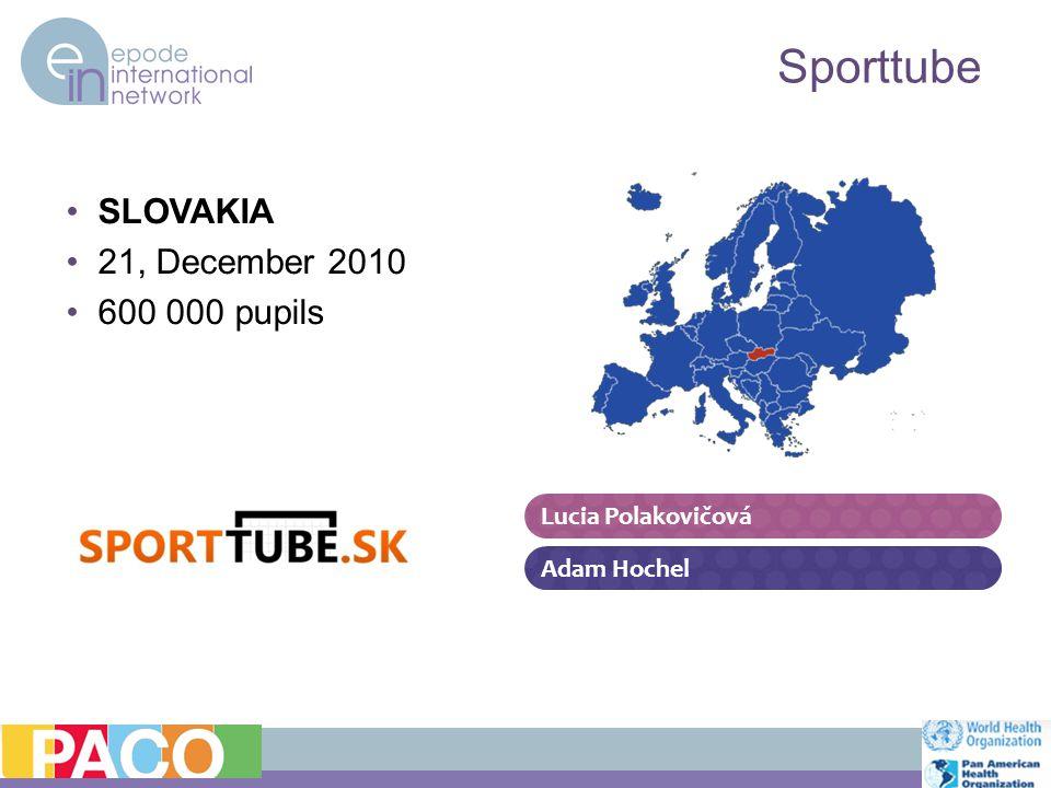 SLOVAKIA 21, December 2010 600 000 pupils Sporttube Adam Hochel Lucia Polakovičová