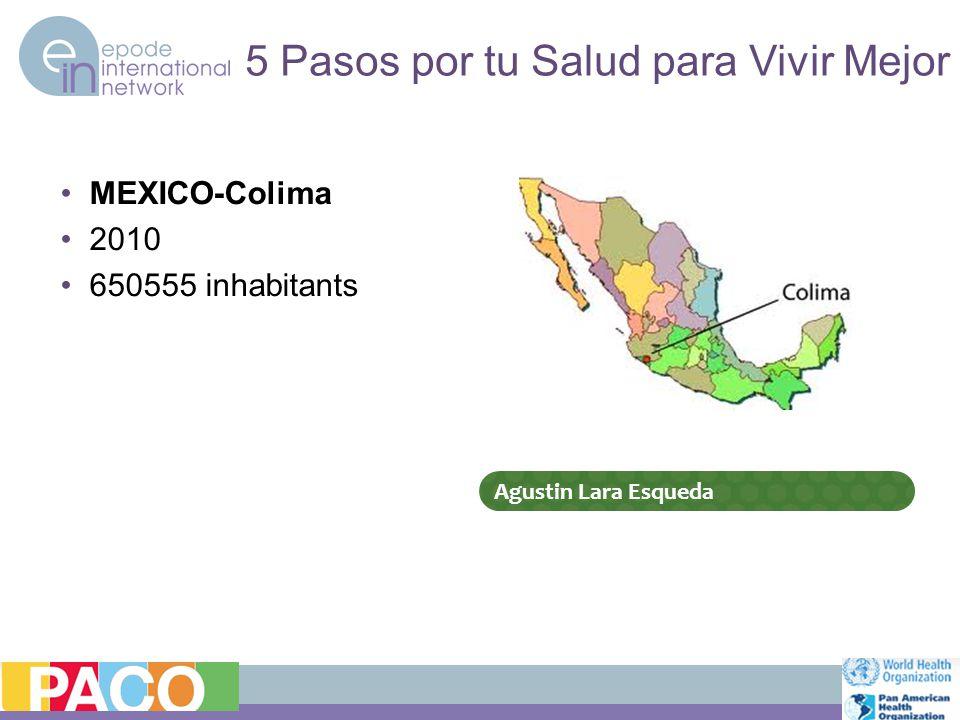 MEXICO-Colima 2010 650555 inhabitants 5 Pasos por tu Salud para Vivir Mejor Agustin Lara Esqueda