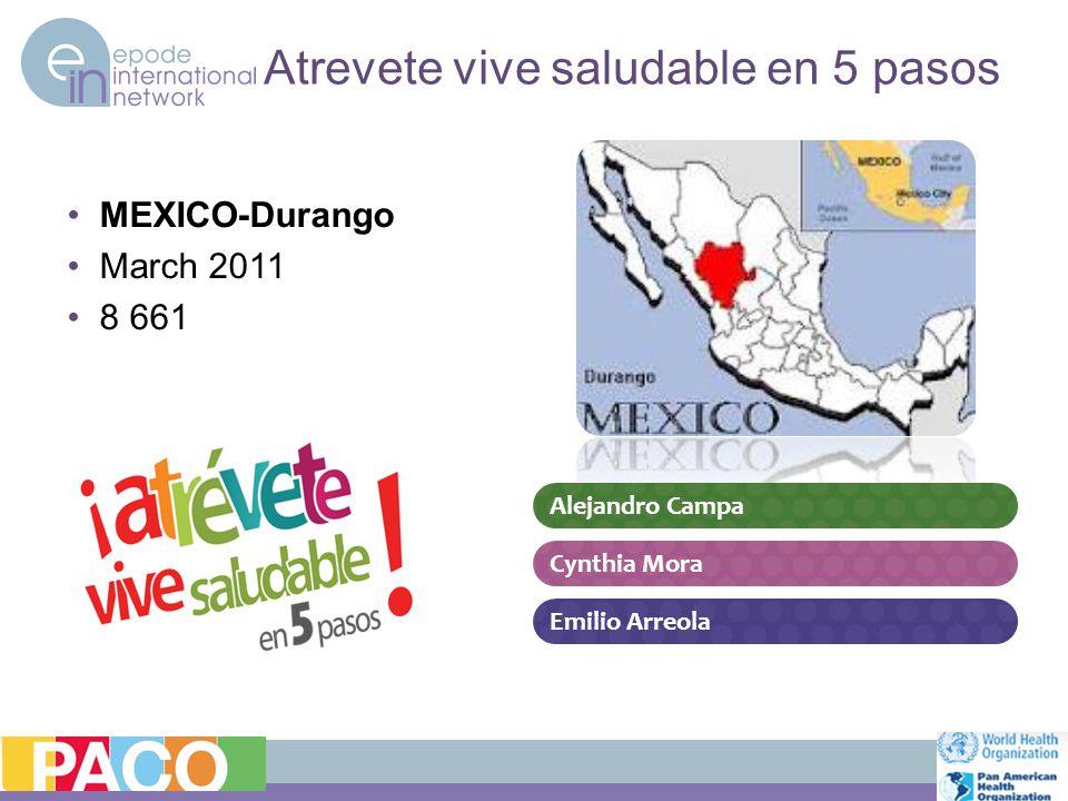 Atrevete vive saludable en 5 pasos MEXICO-Durango March 2011 8 661 Emilio Arreola Alejandro Campa Cynthia Mora